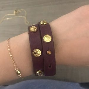 Purple Tory Burch double wrap wrist bracelet